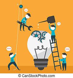 plat, concept, travail, illustration, conception, équipe