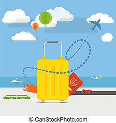plat, concept., vakantie, illustratie, ontwerp, het reizen