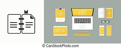 plat, concept, -, vector, boek, pictogram