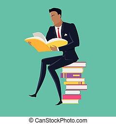 plat, concept, vector, boekjes , lezende , design.