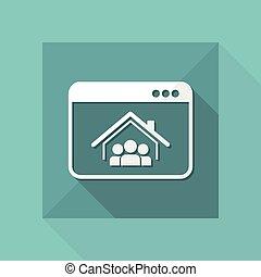 plat, concept, -, vector, woongroep, online, pictogram
