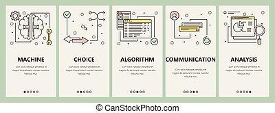 plat, concept, vertical, intelligence, artificiel, vecteur, conception, ligne mince, bannières