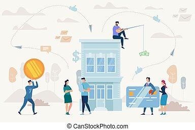 plat, concept, zakelijk, lening, doelen, vector