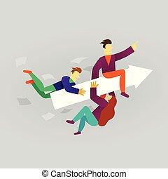plat, concept, zakelijk, succes, rijden, karakter, spotprent, arrow., vector, team, style., illustration.