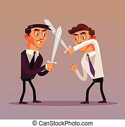 plat, concept, zakenkantoor, arbeider, twee, vecht, vrijstaand, competities, grafisch ontwerp, illustratie, karakters, swords., slag, zakenman, rivaliteit, spotprent