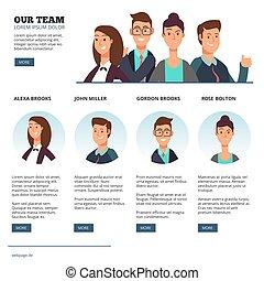 plat, concept, zakenlui, creatief, outsourcing, vector, teamwork, karakters, spotprent