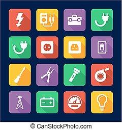plat, conception, électricien, icônes