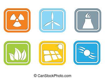 plat, conception, –, énergie, icône, ensemble