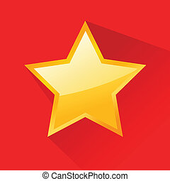 plat, conception, étoile, brillant, or
