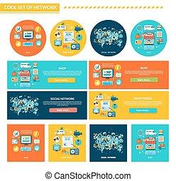 plat, conception, concept, ensemble, réseau