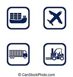 plat, conception, ensemble, icônes, élévateur, -, avion, camion, importation, exportation, bateau