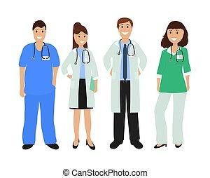 plat, conception, hôpital, groupe, médecins