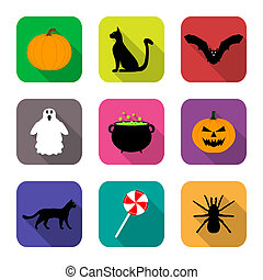 plat, conception, halloween, icônes