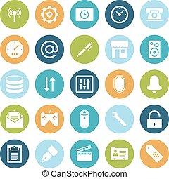 plat, conception, icônes, pour, interface utilisateur