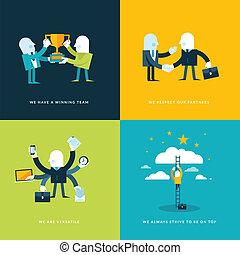 plat, conception, icones affaires