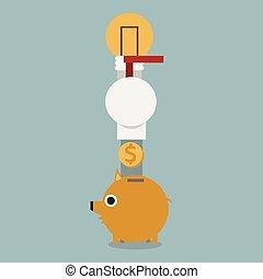 plat, conception, idée, argent