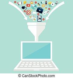 plat, conception, illustration, concepts, pour, créatif, processus, grand, données, filtre, données, tunnel, analyse, concept