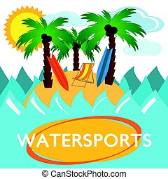 plat, conception, illustration, watersports