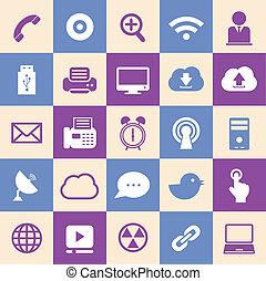 plat, conception, interface, icône