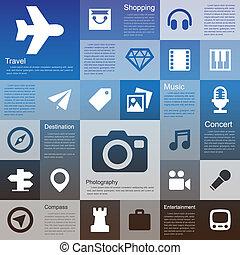plat, conception, interface, icône, ensemble
