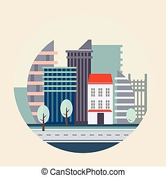 plat, conception, paysage, illustration, urbain