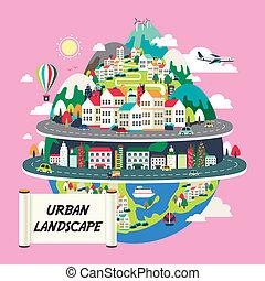 plat, conception, paysage, urbain