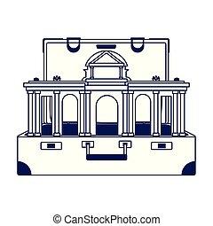 plat, conception, portail, madrid, alcala, icône, valise, voyage