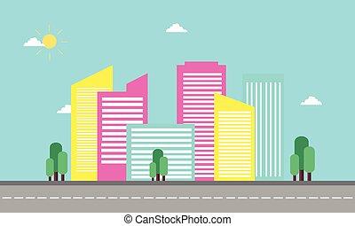 plat, conception, silhouette, paysage, urbain