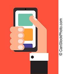 plat, conception, vecteur, smartphone, homme affaires