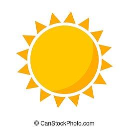 plat, conception, vector., icône, soleil