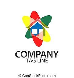 plat, conceptions, coloré, maison, logo, gabarit