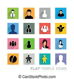 plat, conceptions, icônes, gens