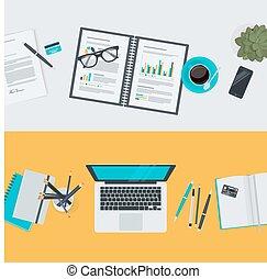 plat, concepts, espace de travail, conception