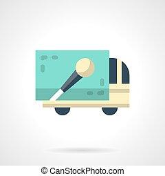 plat, concert, couleur, vecteur, camion, icône