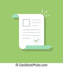 plat, confirmed, documenten, kleur, vrijstaand, illustratie, goedgekeurd, achtergrond., icon., of, document.