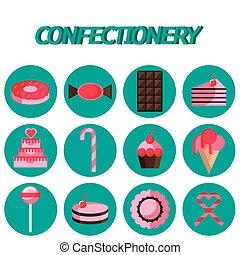 plat, confiserie, ensemble, icône