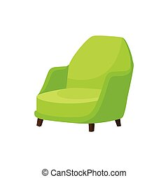 plat, confortable, icône, vivant, fauteuil bois, confortable, clair, vecteur, vert, chair., legs., meubles, doux, salle