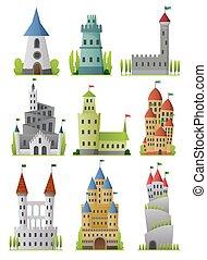 plat, conique, élevé, grand, ou, fée, castles., palais, mur, ensemble, vecteur, forteresse, forteresses, fortifié, roofs., moyen-âge, conte, tours
