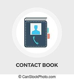 plat, contact, livre, icône