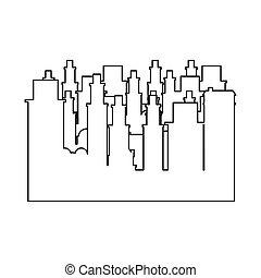 plat, contour, cadre, scène, cityscape, icône