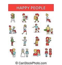 plat, contour, gens, ensemble, icônes, mince, illustration, editable, coups, vecteur, symboles, pictograms, ligne, heureux, signes, linéaire