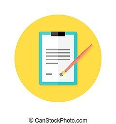 plat, contrat, stylo, presse-papiers, cercle, icône