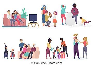 plat, conversation, famille, regarder, dépenser, jouer, celebrating., anniversaire, tv, vecteur, parents, ensemble., membres, temps, enfants, illustration.