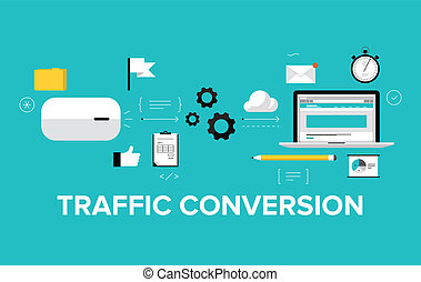 plat, conversion, concept, trafic, illustration