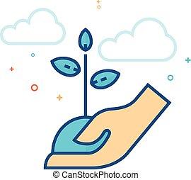 plat, couleur, arbre, -, possession main, icône