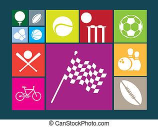 plat, couleur, bouton, icônes, blanc, fond, de, célèbre, sports