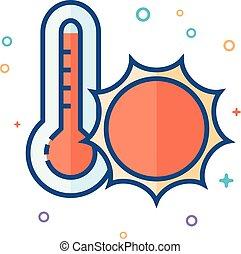 plat, couleur, -, chaleur, thermomètre, icône