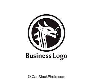 plat, couleur, illustration, dragon, vecteur, gabarit, logo