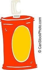 plat, couleur, illustration, vaporisez boîte, dessin animé