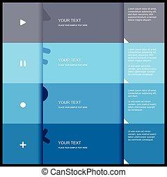 plat, couleur, -, illustration, vecteur, conception, 4, gabarit